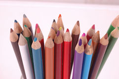 Colored Pencils. Sharpened in a row Stock Image