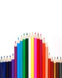 Colored pencils. Colored various pencils for your design stock images