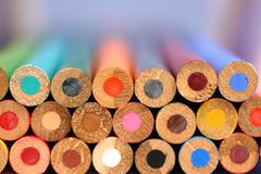 Colored Pencils. Only ends showing Royalty Free Stock Photo
