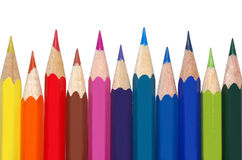 Colored pencils. Isolated on white background Stock Photos