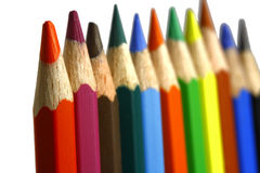 Colored pencils. On the white background Stock Photography