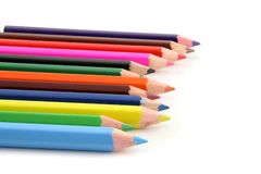 Colored pencils. On a white background Royalty Free Stock Photos