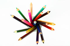 Colored pencils. Crayons on a white background Stock Photography