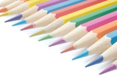 Colored pencils. Against white background Stock Photos