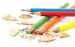 Colored pencils. And shavings on white Royalty Free Stock Photos