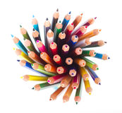 Colored pencils. Set of colored pencils isolated on white background stock image