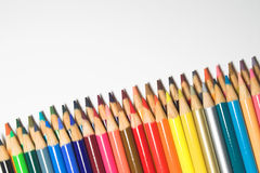 Colored pencils. An assortment of colored pencils Royalty Free Stock Photography