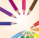Colored pencils. Set of twelve colored pencils,  illustration Royalty Free Stock Images
