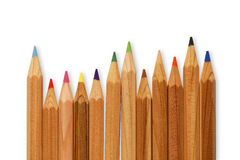 Colored pencils. Row of colored pencils on white background Stock Photo