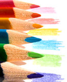 Colored pencils. On white paper sheet Stock Image