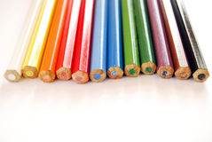 Colored pencils. Photographed from behind Stock Photo
