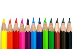Colored pencils. On white ground royalty free stock image