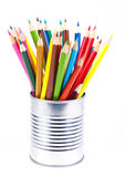 Colored pencils. In a tin can, isolated on white background Stock Photography