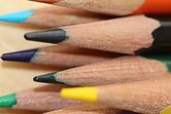 Colored Pencils. A macro of colored pencils Stock Image