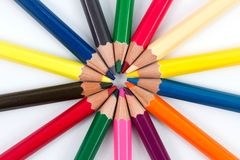 Colored pencils 3. Different colored pencils in a circled array with a white background Royalty Free Stock Photography