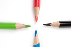 Colored pencils. Four colored pencils stock images