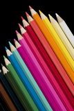 Colored Pencils. Photo of colored pencils on black background Royalty Free Stock Photo