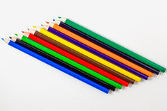 Colored Pencils. A variety of sharpened colored pencils for art work and drawing stock image