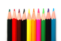 Colored Pencils. Line of colored pencils on a white background Stock Image