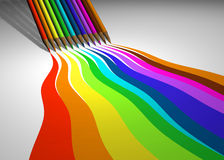 Colored pencils. Colored pencil drawing lines - 3d render stock illustration