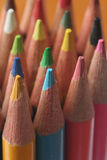Colored pencils. Rows of colored wooden pencils Stock Photography
