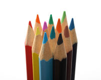 Colored pencils. Set of colored wooden pencils upright over white Stock Photos