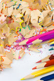 Colored pencils. Colorful pencils and wood shavings Stock Images