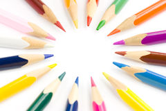 Colored pencils. Macro shot of colored pencils Royalty Free Stock Photos