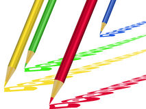 Colored pencils. Composition of different colored pencils and sketches Royalty Free Stock Images