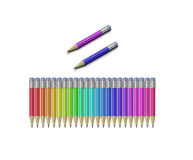Colored pencils. All colors 3D pensils with rubber isolalated on white background vector illustration