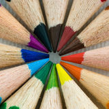 Colored pencils. Round composition of colored pencils Stock Photos