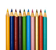 Colored Pencils. A set of plain isolated coloring pencils Royalty Free Stock Images