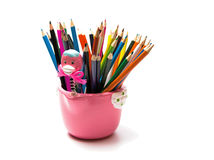 Colored pencils. Color pencils for the drawing, located in a support as a vase Stock Photo