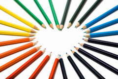 Colored pencils. Set of color pencils on a white background Stock Images