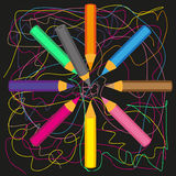 Colored pencils. Arranged in a circle on a black background in the middle of a pencil vector illustration