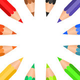 Colored pencils arranged in a circle Royalty Free Stock Photo