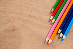 Colored pencils arranged in diagonal line Stock Photo