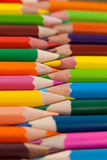 Colored pencils arranged in interlock pattern Royalty Free Stock Image