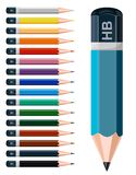 Colored pencils. Colored pencils arranged in a row vector illustration