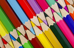 Colorful pencils closeup arranged in a row on the diagonal Stock Photo