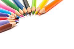 Colored pencils arranged in semi-circle royalty free stock images