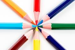 Colored pencils arranged Stock Photos