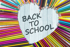 Colored pencils with Back to School text Royalty Free Stock Photos