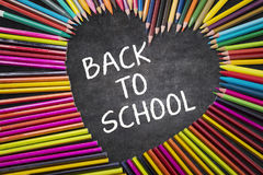 Colored pencils with Back to School word Stock Images