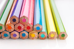 Colored pencils back view Royalty Free Stock Image