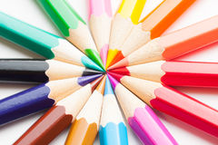 Colored pencils background. Colored pencils isolated on white background Stock Photography