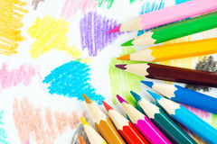 Colored Pencils Background Stock Photos