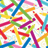 Colored Pencils Background. Childish shapes and colored pencils seamless pattern,back to school Royalty Free Stock Images