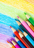 Colored pencils background Stock Images