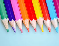 Colored pencils. Beautiful сolored pencils close-up Stock Images